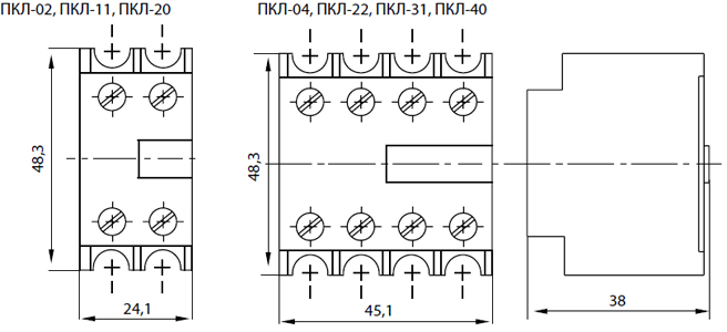 Габаритные размеры приставкок контактных ПКЛ-02, ПКЛ-04, ПКЛ-11, ПКЛ-20, ПКЛ-22,ПКЛ-31, ПКЛ-40